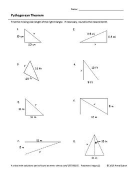 Pythagorean Theorem Worksheet With Video Answers By Idomath Tpt