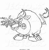 Coloring Bull Outline Cartoon Matador Horn Bulls Horns Vecto Rs Torn Vector Fabric Template Printable Riding sketch template