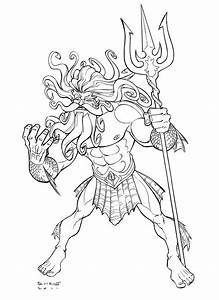Poseidon Greek Mythology Drawing
