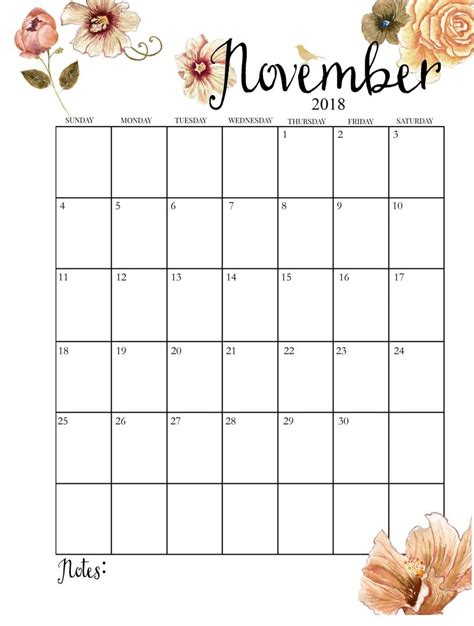 printable monthly november calendar