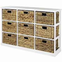 storage with baskets HARTLEYS 3x3 WHITE WOOD HOME STORAGE UNIT 9 WICKER DRAWER ...