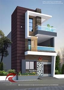 duplex, modern, front, elevation, home, design