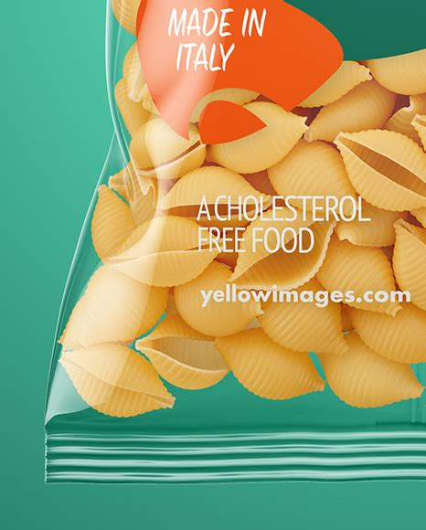 The bag content is not editable. Frosted Plastic Bag With Tricolor Tortiglioni Pasta Mockup ...