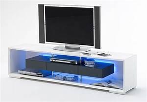 Meuble Tv Led Blanc Laqué : meuble tele led meuble de tv pas cher maisonjoffrois ~ Teatrodelosmanantiales.com Idées de Décoration