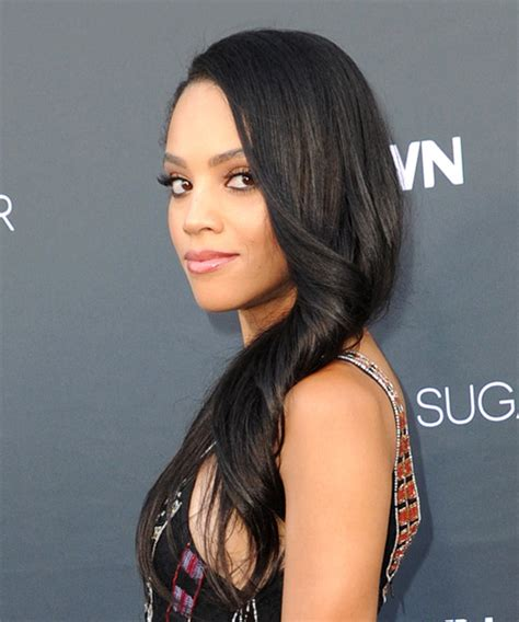 Bianca Lawson Long Wavy Formal Hairstyle   Black Hair Color