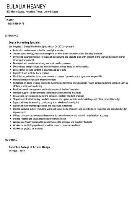 Digital Marketing Specialist Resume by Digital Marketing Specialist Resume Sle Velvet