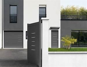 porte d39entree bel39m alu gris anthracite sans vitrage a With porte de garage et porte d interieure contemporaine