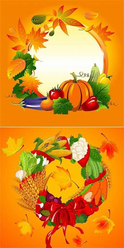 Harvest Autumn Frames Vector Clip Round Backgrounds