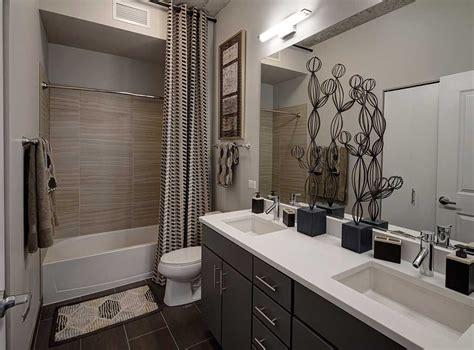grey cabinets kitchen model bathroom featuring porcelain tile bath flooring 1484