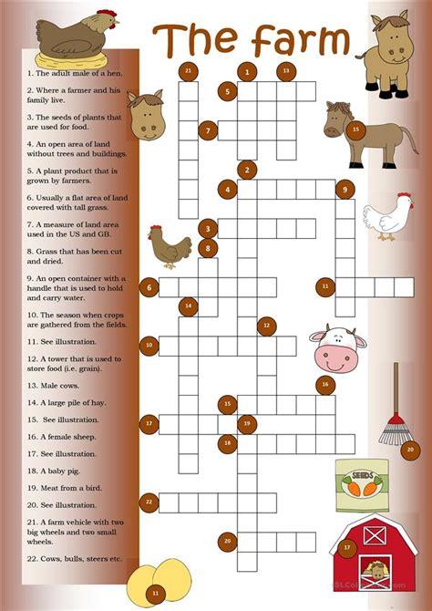 crossword  farm worksheet  esl printable worksheets   teachers