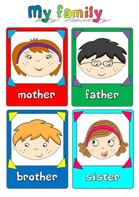 family flashcards worksheet  esl printable