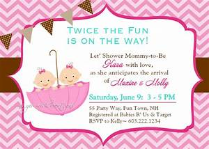 Twin baby girl shower invitations theruntimecom for Twin baby shower invitations templates free