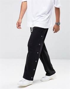 Pantalon Avec Bouton Sur Le Cote : asos asos pantalon de jogging coupe droite avec boutons pression sur le c t noir ~ Melissatoandfro.com Idées de Décoration