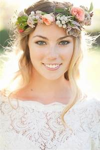 Gorgeous Bridal Hairstyles With Flower Crowns