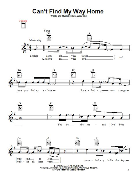 eric clapton quot can t find my way home quot guitar tab can t find my way home by eric clapton ukulele guitar New