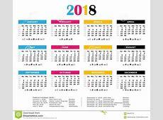 Calendrier Annuel De 2018 De CMYK Couleurs D'impression