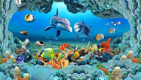 wallpaper  walls  sea world underwater caves dolphin