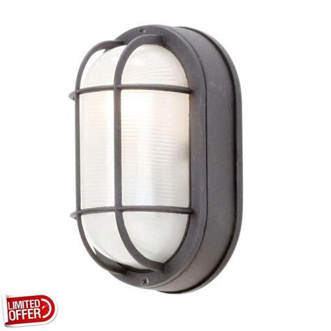 sale hton bay black outdoor oval bulkhead wall light