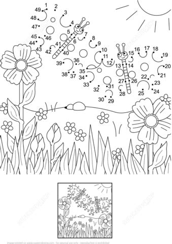 summer scene dot  dot  printable coloring pages
