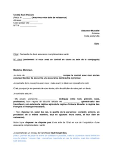 exemple gratuit de lettre demande devis assurance sant 233