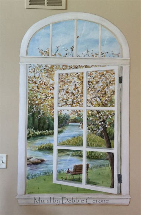 trompe l oeil window mural with river painted in