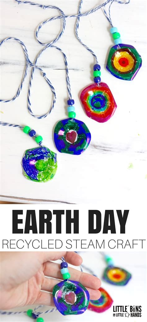 earth day recyclable craft  bins   hands