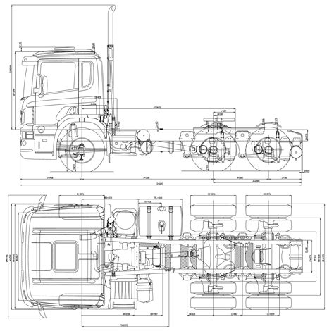 scania ca 6x2 heavy truck blueprints free outlines