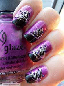 Black purple and silver nail designs images