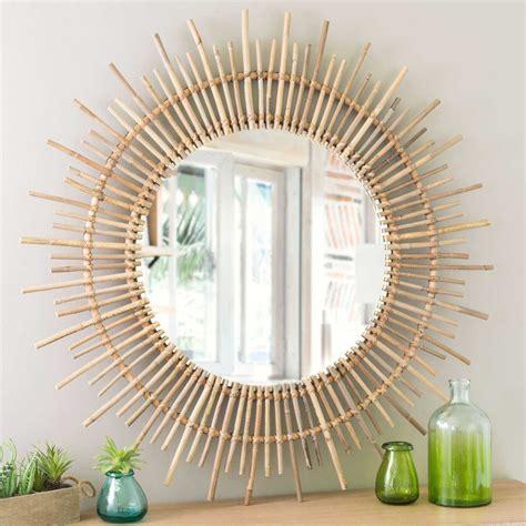 miroir en rotin miroir rond en rotin d 90 cm maisons du monde