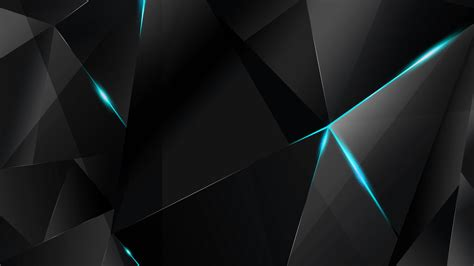 Abstract Shapes Bg by Wallpapers Cyan Abstract Polygons Black Bg By