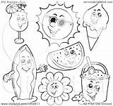 Coloring Summer Collage Outlines Clip Royalty Characters Illustration Digital Vector Clipart Visekart Copyright sketch template