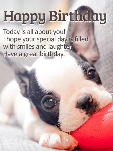 playing puppy happy birthday card birthday greeting