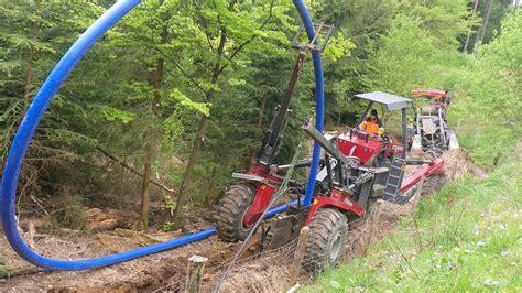 wasserleitung verlegen kosten pro meter wasserleitung wird im burgwald mit dem pflug verlegt schnelles verfahren senkt die kosten