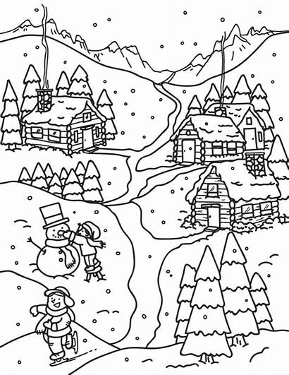 Winter Coloring Pages Printable Museprintables Colouring Drawing