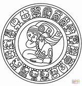 Mayan Calendar Coloring Aztec Maya Pages Mexican Printable Mask Sketch Culture Animals Symbols Rodriguez Leo Supercoloring Face Colouring Crafts Gods sketch template