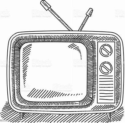 Television Drawing Retro Vector Illustration Arts Entertainment