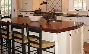 Mahogany Wood Countertop Kitchen Island in Massachusetts
