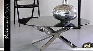 Table Basse En Verre Ronde : table basse design ronde en inox chrom et verre tremp 100 cm int rieurs styles ~ Teatrodelosmanantiales.com Idées de Décoration