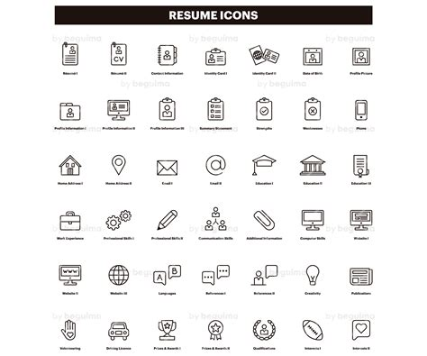 12262 resume contact icons resume icons cv clip curriculum clipart set of