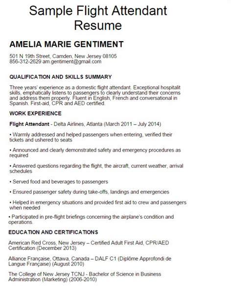 Resume For Flight Attendant by Flight Attendant Resume Exles