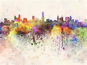 melbourne skyline in watercolor background painting by pablo romero