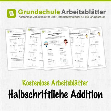 halbschriftliche addition kostenlose arbeitsblaetter
