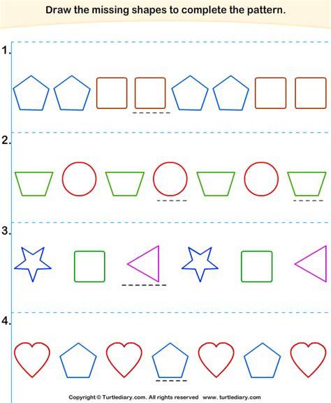 Complete The Missing Pattern 5 Worksheet Turtlediarycom