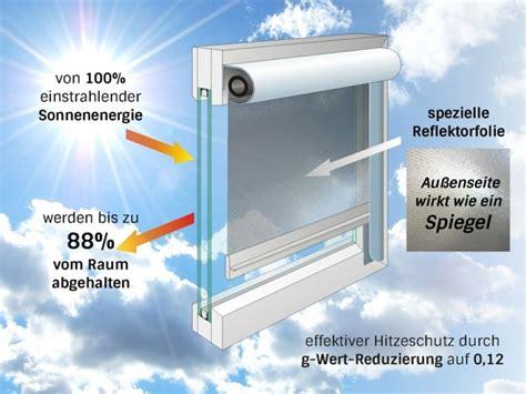 hitzeschutz fenster außen innenliegender sonnenschutz mit folienrollos oder jalousien