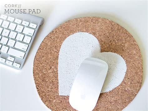 sarah hearts diy painted cork mouse pad