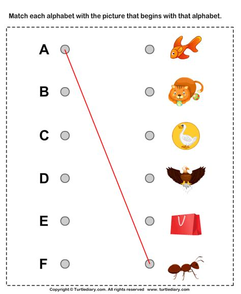 alphabet worksheet match  letters   objects