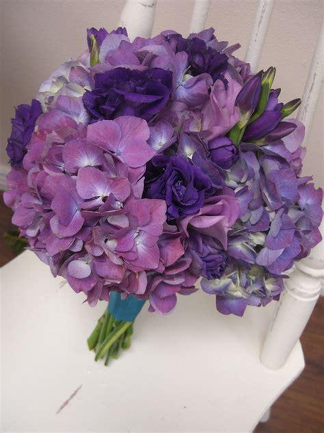 purple hydrangea wedding flowers  purple lisianthus