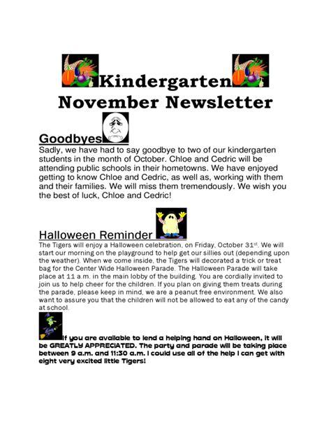 kindergarten november newsletter free 589 | kindergarten november newsletter l1