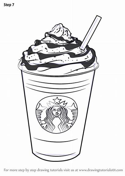 Starbucks Frappuccino Coloring Pages Draw Coffee Drawing