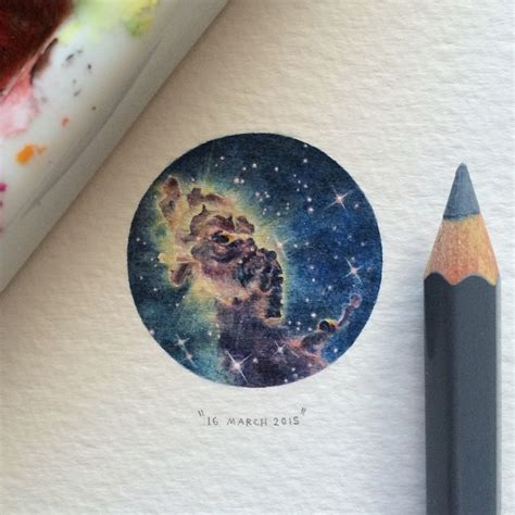 modern cat miniature watercolor paintings of space by lorraine loots